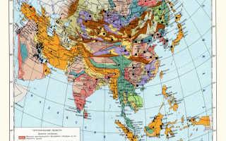 Полезные ископаемые зарубежной азии на карте